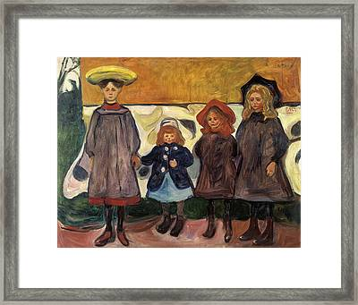 Four Girls In Asgardstrand Framed Print by Edvard Munch