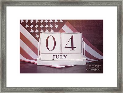 Fourth Of July Vintage Wood Calendar With Flag Background.  Framed Print by Milleflore Images