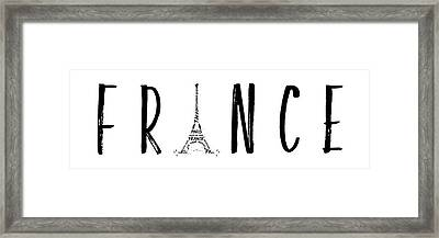 France Typography Panoramic Framed Print by Melanie Viola