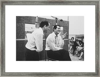Frank Sinatra And Dean Martin At Capitol Records Studios Framed Print