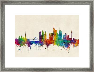 Frankfurt Germany Skyline Framed Print by Michael Tompsett