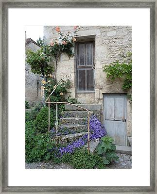 French Staircase With Flowers Framed Print