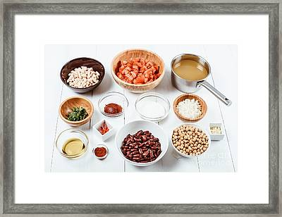 Fresh Food Ingredients On White Wood Kitchen Table Framed Print