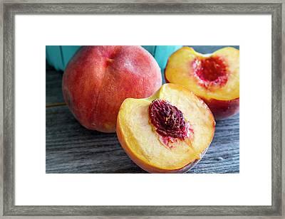 Fresh Peaches Framed Print by Teri Virbickis