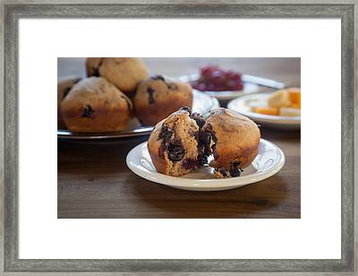 Fresh Whole Grain Blueberry Muffin Framed Print by Erin Cadigan