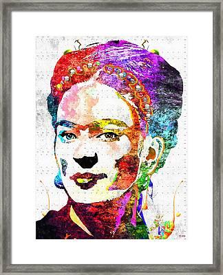 Frida Kahlo Grunge Framed Print by Daniel Janda