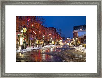 Front Street Holiday Lights Framed Print by Benjamin Williamson