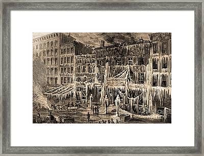 Frozen Remains Of Barnums Museum, 1868 Framed Print by Science Source