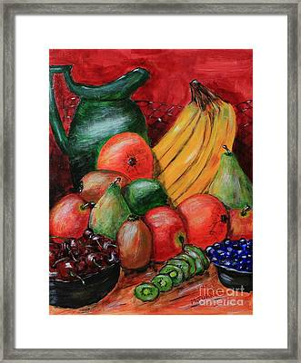 Fruit And Pitcher Framed Print