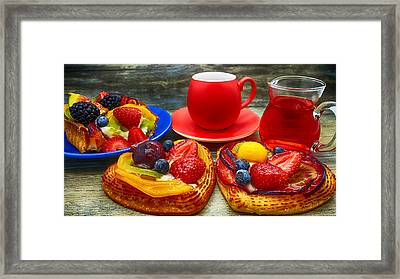 Fruit Desserts And Cup Of Coffee Framed Print
