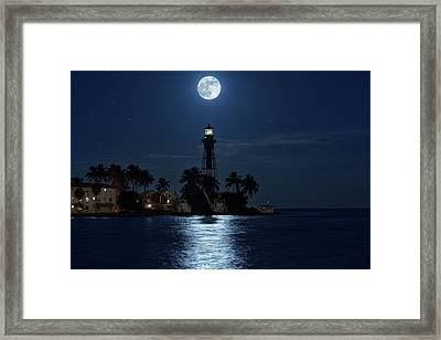 Full Moon Over Hillsboro Lighthouse In Pompano Beach Florida Framed Print