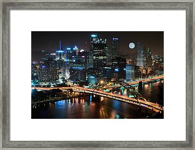 Full Moon Over Pittsburgh Framed Print by Frozen in Time Fine Art Photography