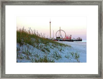 Funtown Pier From The Dunes Of Seaside Park Nj Framed Print