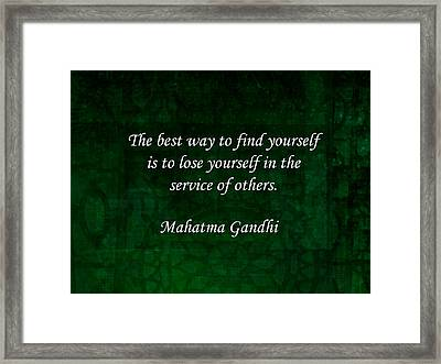 Gandhi Inspirational Quote About Self-help Framed Print by Quintus Wolf
