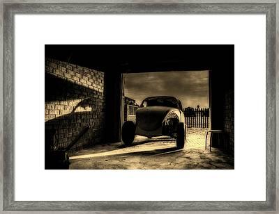 Garage At Sunset Framed Print