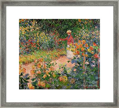 Garden At Giverny Framed Print by Claude Monet