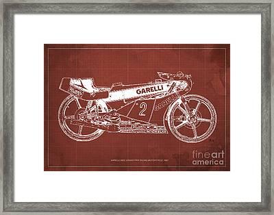 Garelli 50cc Grand Prix Racing Motorcycle 1983 Blueprint Framed Print