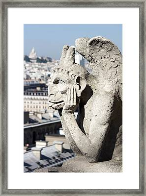 Gargoyle Guarding The Notre Dame Basilica In Paris Framed Print by Pierre Leclerc Photography