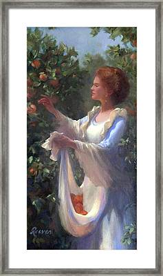 Gathering Peaches Framed Print