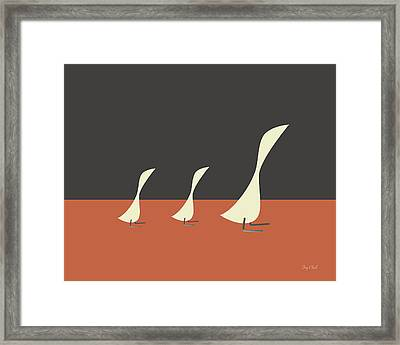 Geese Danish Modern Inspired Framed Print by Amy Clark