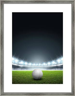 Generic Floodlit Stadium With Cricket Ball Framed Print