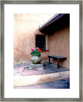 Geranium And Casita Framed Print by Nieves Nitta