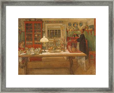 Getting Ready For A Game Framed Print by Carl Larsson
