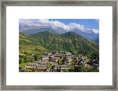 Ghandruk Village In The Annapurna Region Framed Print