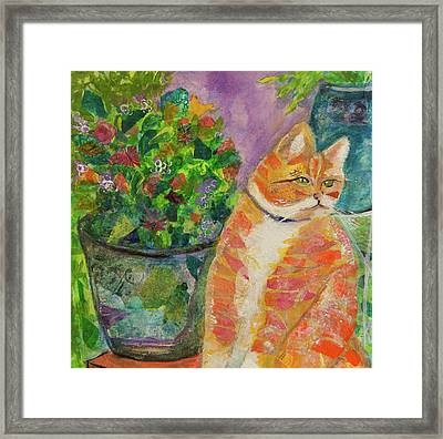 Ginger With Flowers Framed Print