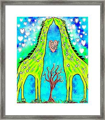 Giraffe Kisses Framed Print by Eloise Schneider