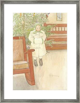 Girl And Rocking Chair Framed Print by Carl Larsson