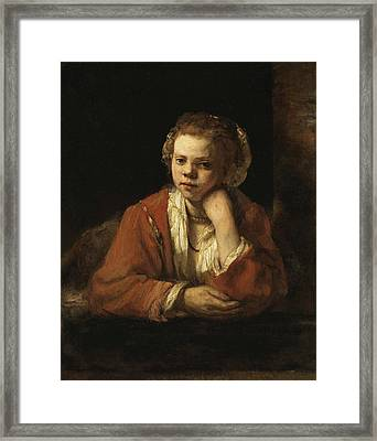 Girl At A Window Framed Print by Rembrandt