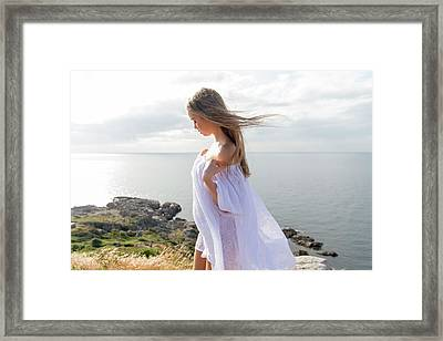 Girl In A White Dress By The Sea Framed Print