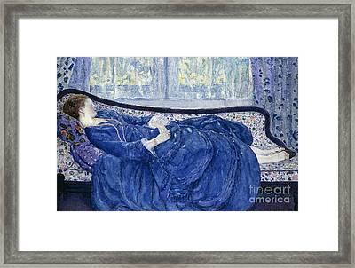 Girl In Blue Framed Print