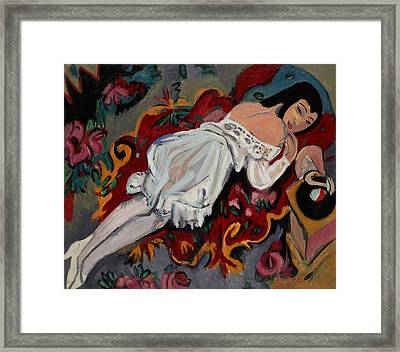 Girl In White Chemise Framed Print by Mountain Dreams
