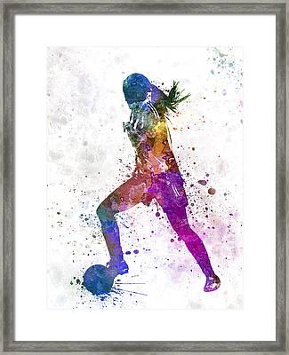 Girl Playing Soccer Football Player Silhouette Framed Print