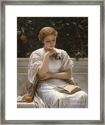 Girl Reading Framed Print by Charles Edward Perugini