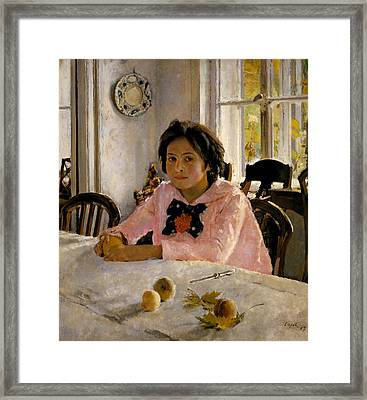 Girl With Peaches Framed Print