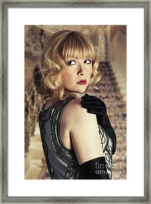 Glamorous Twenties Woman Framed Print by Amanda Elwell