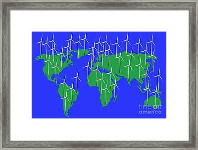Global Wind Power, Conceptual Image Framed Print by Victor de Schwanberg