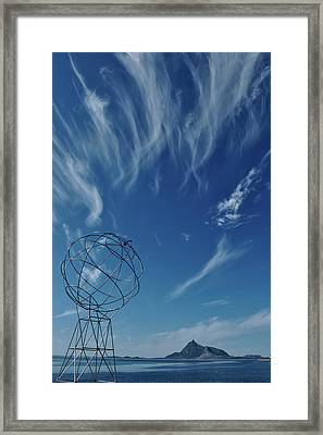Globe Symbol View  On Sky Background In Norway Framed Print by Tamara Sushko