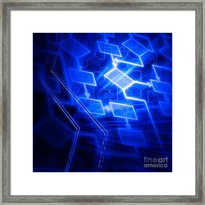 Glowing Blue Flowchart Framed Print