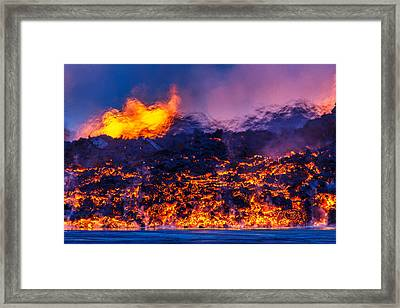 Glowing Lava From The Eruption Framed Print by Panoramic Images