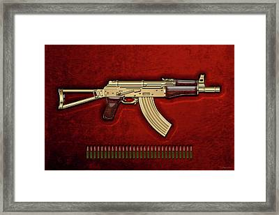 Gold A K S-74 U Assault Rifle With 5.45x39 Rounds Over Red Velvet   Framed Print by Serge Averbukh