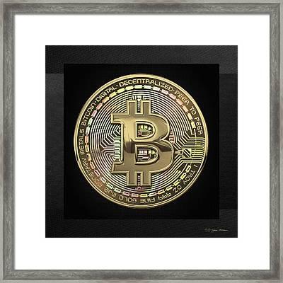 Gold Bitcoin Effigy Over Black Canvas Framed Print