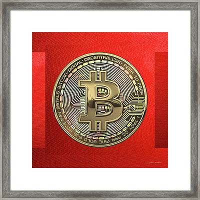 Gold Bitcoin Effigy Over Red Canvas Framed Print