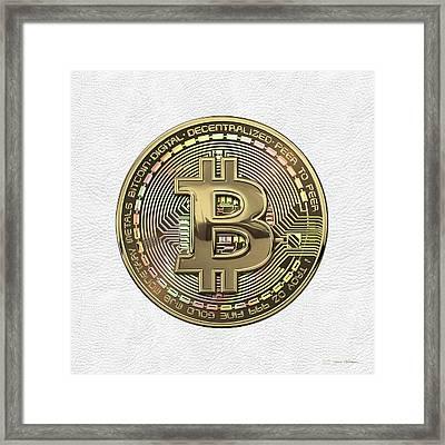 Gold Bitcoin Effigy Over White Leather Framed Print