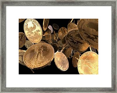 Gold Coins, Computer Artwork Framed Print by Animate4.comscience Photo Libary