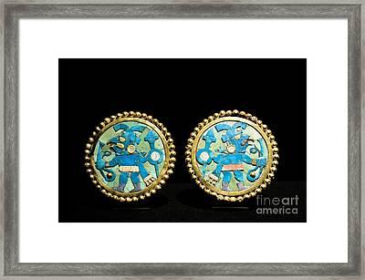 Gold Ear Ornaments, Moche Florescent Framed Print by Tony Camacho