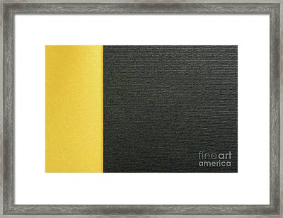 Gold Yellow And Charcoal Gray Abstract Geometric Background With Paper Texture Framed Print